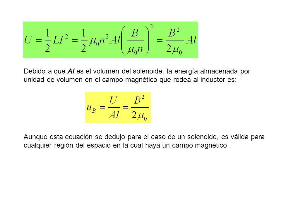 Debido a que Al es el volumen del solenoide, la energía almacenada por unidad de volumen en el campo magnético que rodea al inductor es: Aunque esta e