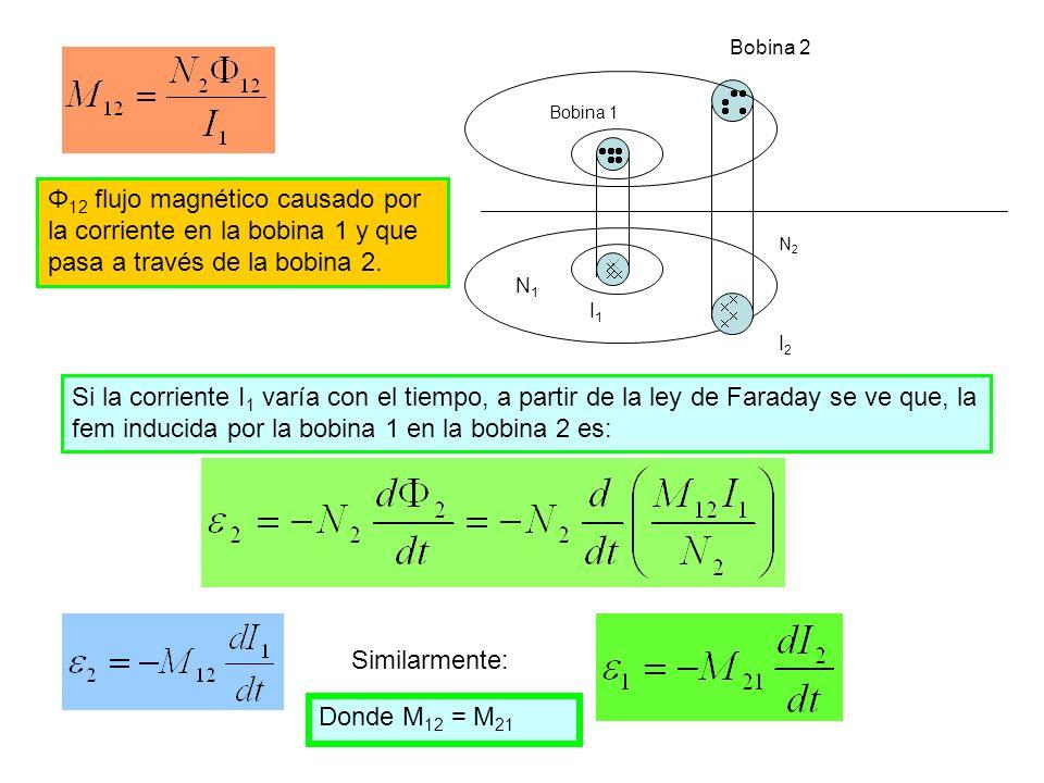 Bobina 1 Bobina 2 N2N2 I2I2 N1N1 I1I1 Φ 12 flujo magnético causado por la corriente en la bobina 1 y que pasa a través de la bobina 2. Si la corriente