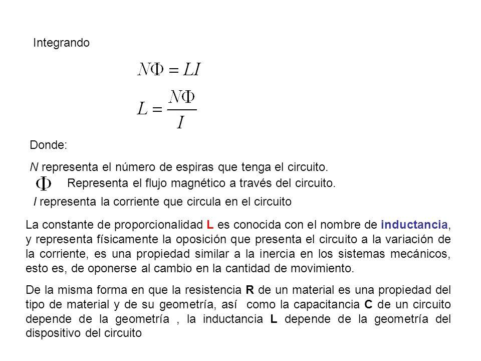 Integrando Representa el flujo magnético a través del circuito. Donde: N representa el número de espiras que tenga el circuito. I representa la corrie