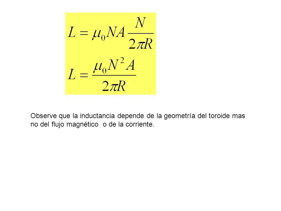 Observe que la inductancia depende de la geometría del toroide mas no del flujo magnético o de la corriente.