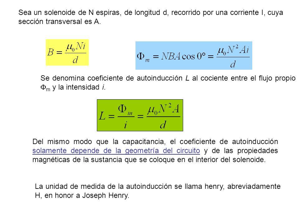 Se denomina coeficiente de autoinducción L al cociente entre el flujo propio m y la intensidad i. Del mismo modo que la capacitancia, el coeficiente d