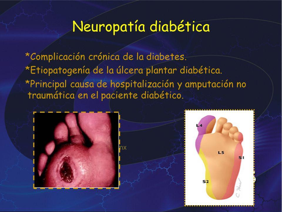 Neuropatía diabética *Complicación crónica de la diabetes. *Etiopatogenía de la úlcera plantar diabética. *Principal causa de hospitalización y amputa