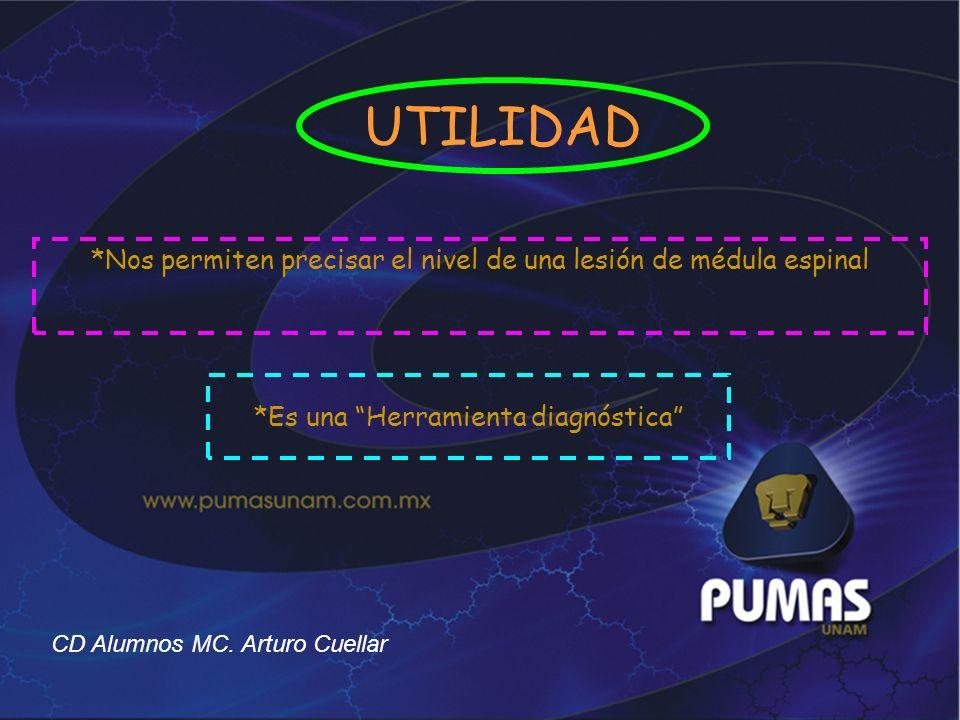 *Nos permiten precisar el nivel de una lesión de médula espinal *Es una Herramienta diagnóstica CD Alumnos MC. Arturo Cuellar UTILIDAD