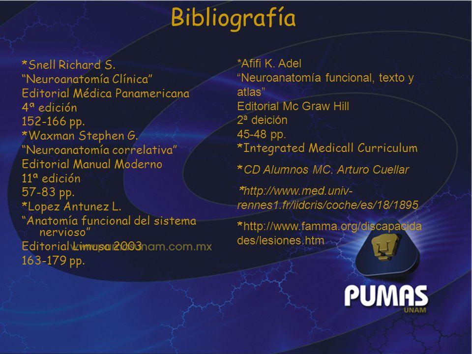 Bibliografía *Snell Richard S. Neuroanatomía Clínica Editorial Médica Panamericana 4ª edición 152-166 pp. *Waxman Stephen G. Neuroanatomía correlativa
