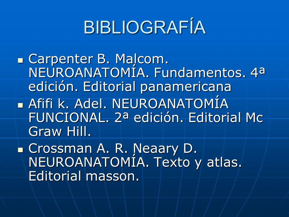BIBLIOGRAFÍA Carpenter B. Malcom. NEUROANATOMÍA. Fundamentos. 4ª edición. Editorial panamericana Carpenter B. Malcom. NEUROANATOMÍA. Fundamentos. 4ª e