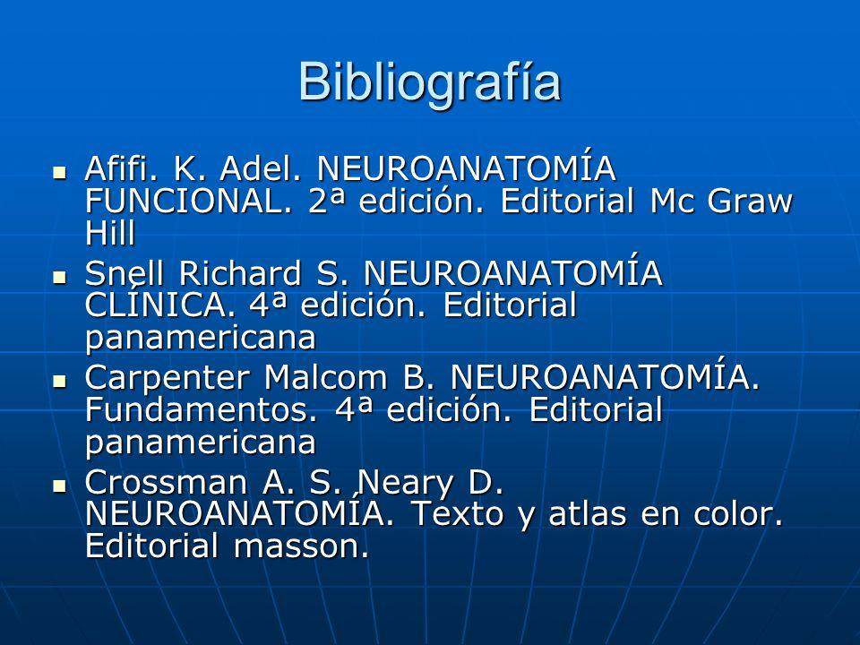 Bibliografía Afifi. K. Adel. NEUROANATOMÍA FUNCIONAL. 2ª edición. Editorial Mc Graw Hill Afifi. K. Adel. NEUROANATOMÍA FUNCIONAL. 2ª edición. Editoria
