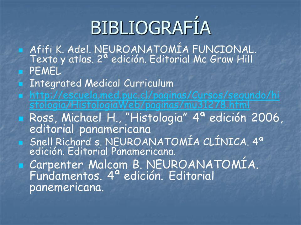 BIBLIOGRAFÍA Afifi K. Adel. NEUROANATOMÍA FUNCIONAL. Texto y atlas. 2ª edición. Editorial Mc Graw Hill PEMEL Integrated Medical Curriculum http://escu