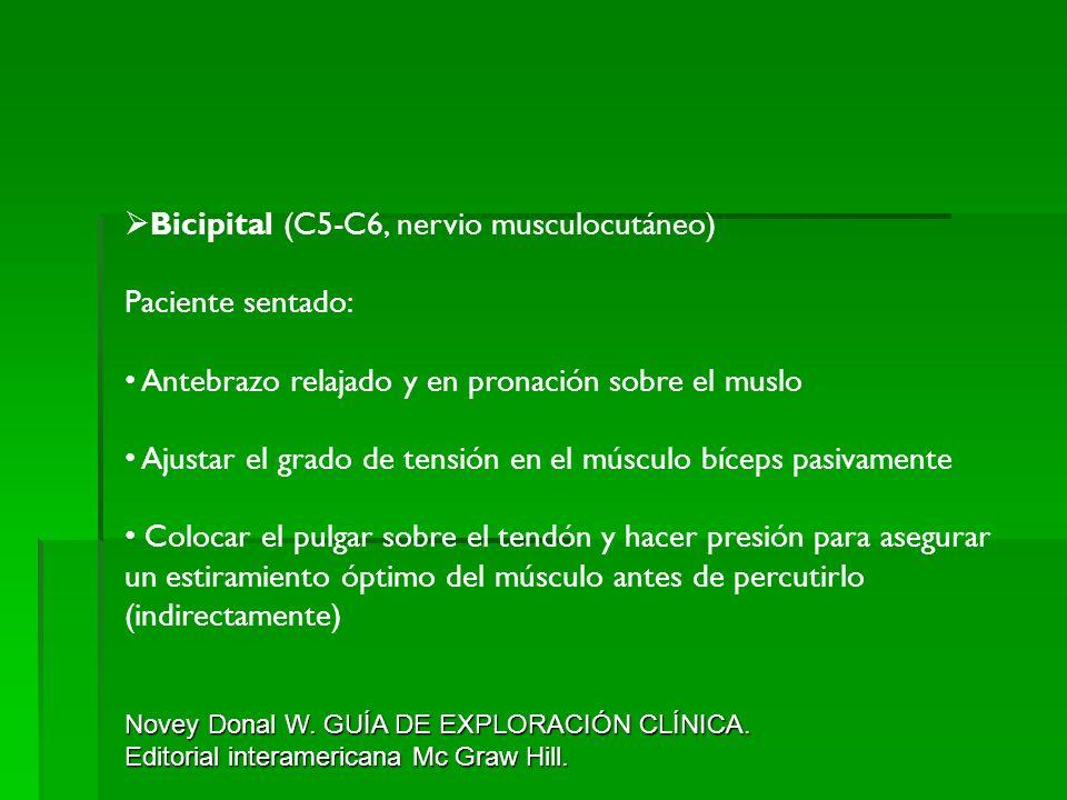 Bicipital (C5-C6, nervio musculocutáneo) Paciente sentado: Antebrazo relajado y en pronación sobre el muslo Ajustar el grado de tensión en el músculo