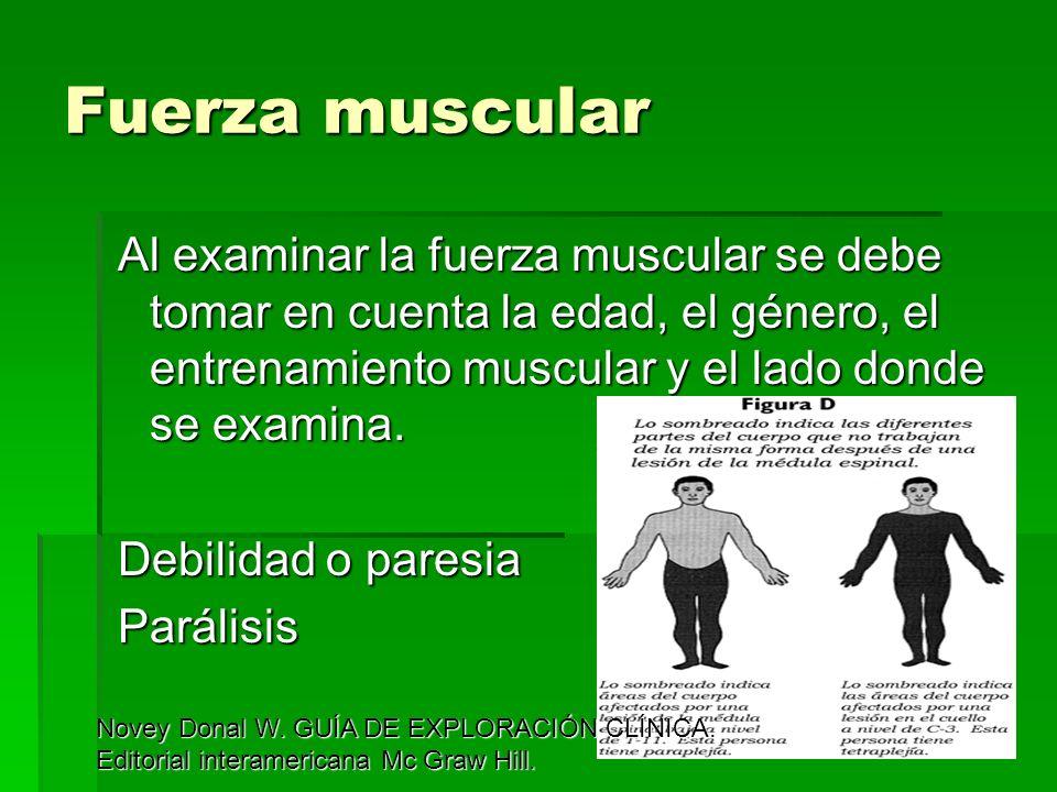 Fuerza muscular Al examinar la fuerza muscular se debe tomar en cuenta la edad, el género, el entrenamiento muscular y el lado donde se examina. Debil