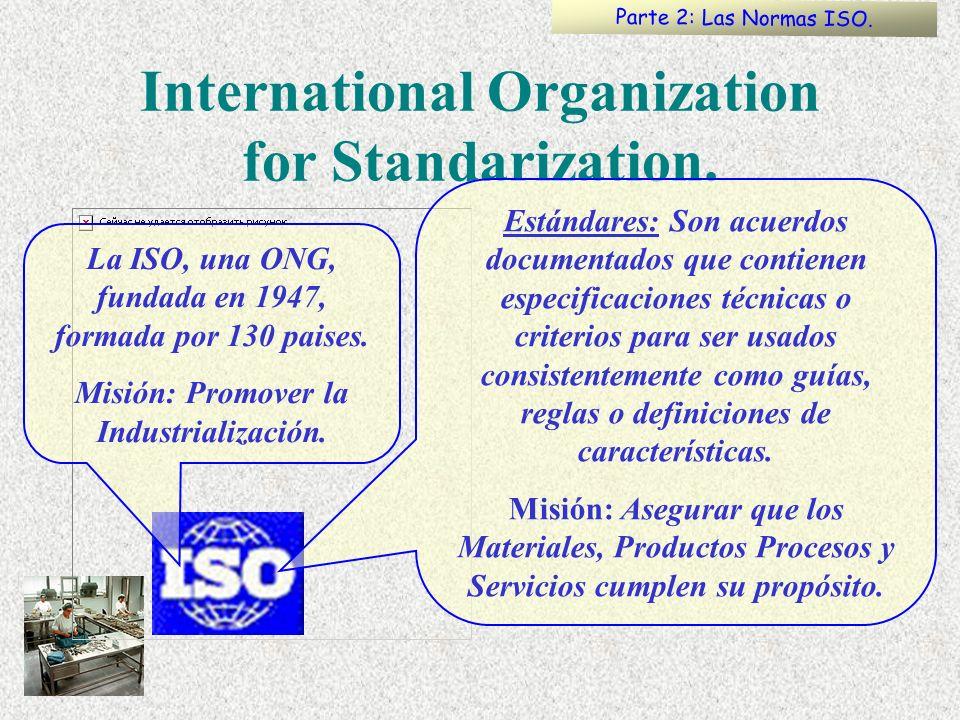 International Organization for Standarization. La ISO, una ONG, fundada en 1947, formada por 130 paises. Misión: Promover la Industrialización. Estánd