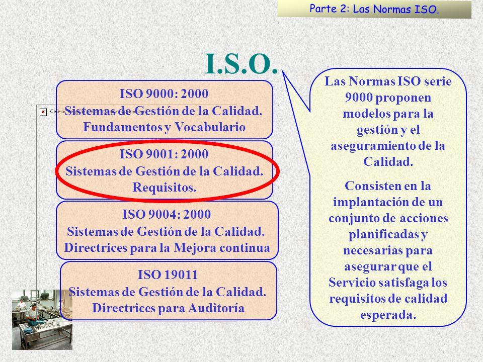 I.S.O. Las Normas ISO serie 9000 proponen modelos para la gestión y el aseguramiento de la Calidad. Consisten en la implantación de un conjunto de acc