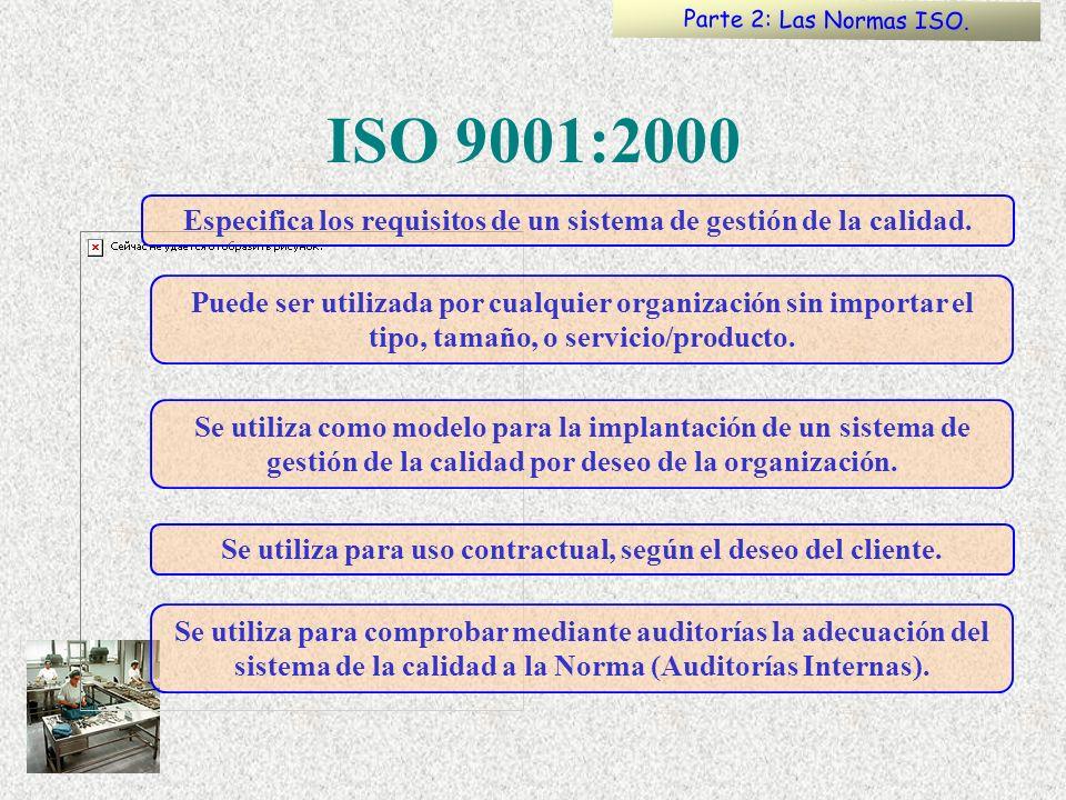 ISO 9001:2000 Puede ser utilizada por cualquier organización sin importar el tipo, tamaño, o servicio/producto. Se utiliza como modelo para la implant