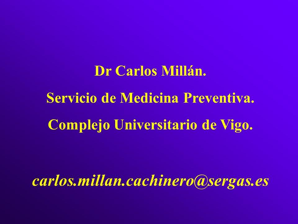Dr Carlos Millán. Servicio de Medicina Preventiva. Complejo Universitario de Vigo. carlos.millan.cachinero@sergas.es