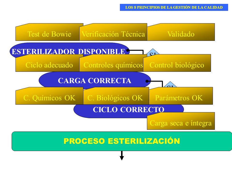 PROCESO ESTERILIZACIÓN ESTERILIZADOR DISPONIBLE CICLO CORRECTO CARGA CORRECTA Test de BowieVerificación TécnicaValidado SI Ciclo adecuadoControles quí
