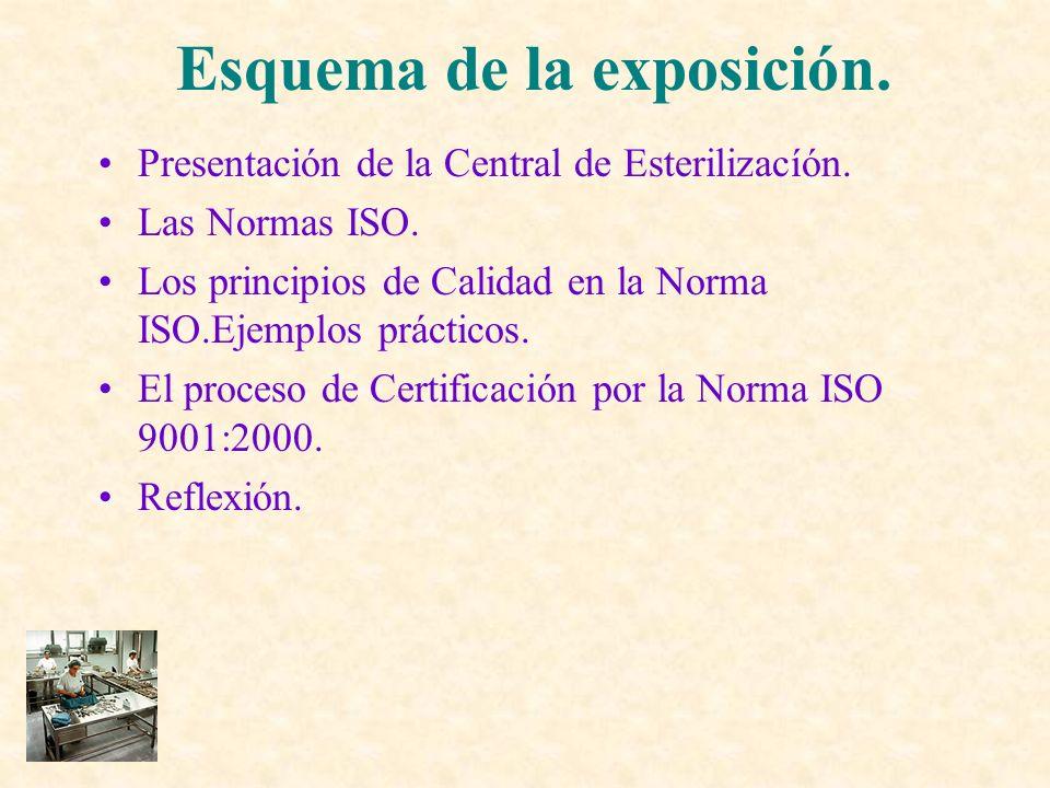 Presentación de la Central de Esterilizacíón. Las Normas ISO. Los principios de Calidad en la Norma ISO.Ejemplos prácticos. El proceso de Certificació