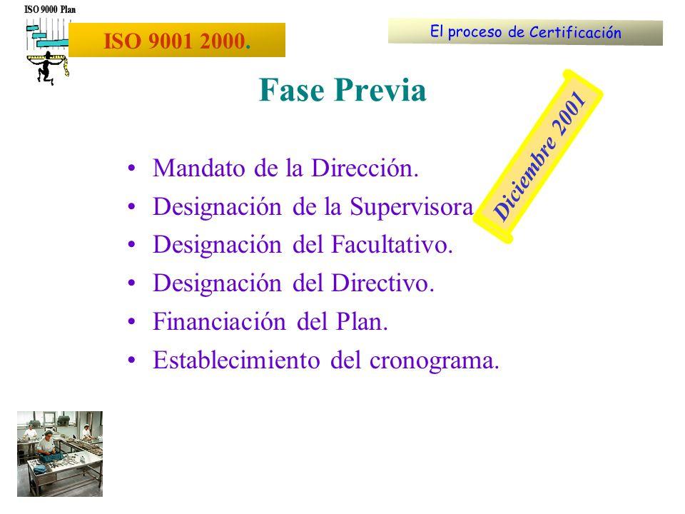 Mandato de la Dirección. Designación de la Supervisora. Designación del Facultativo. Designación del Directivo. Financiación del Plan. Establecimiento