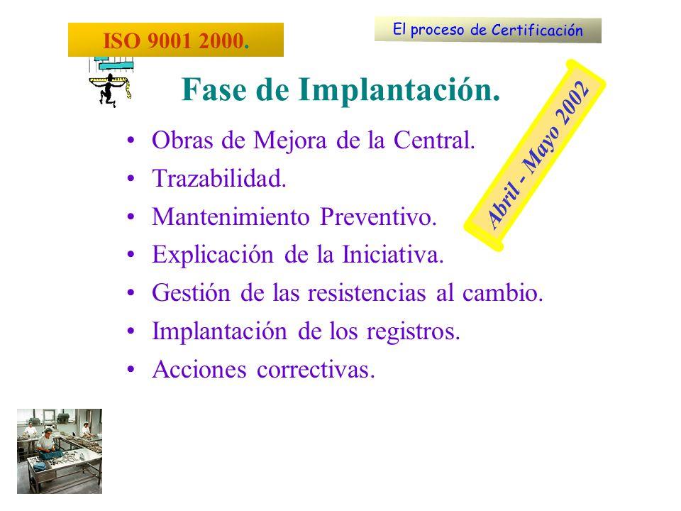 Obras de Mejora de la Central. Trazabilidad. Mantenimiento Preventivo. Explicación de la Iniciativa. Gestión de las resistencias al cambio. Implantaci