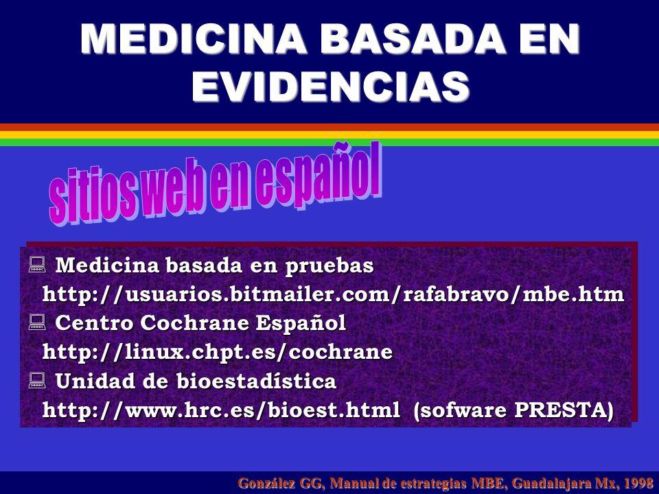 PESO CIENTÍFICO DE LA EVIDENCIA González GG, Manual de estrategias MBE, Guadalajara Mx, 1998 IE de > 1 estudio controlado aleatorizado II-1E de > 2 es