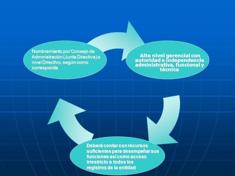 Nombramiento por Consejo de Administración (Junta Directiva) o nivel Directivo, según como corresponda Deberá contar con recursos suficientes para des