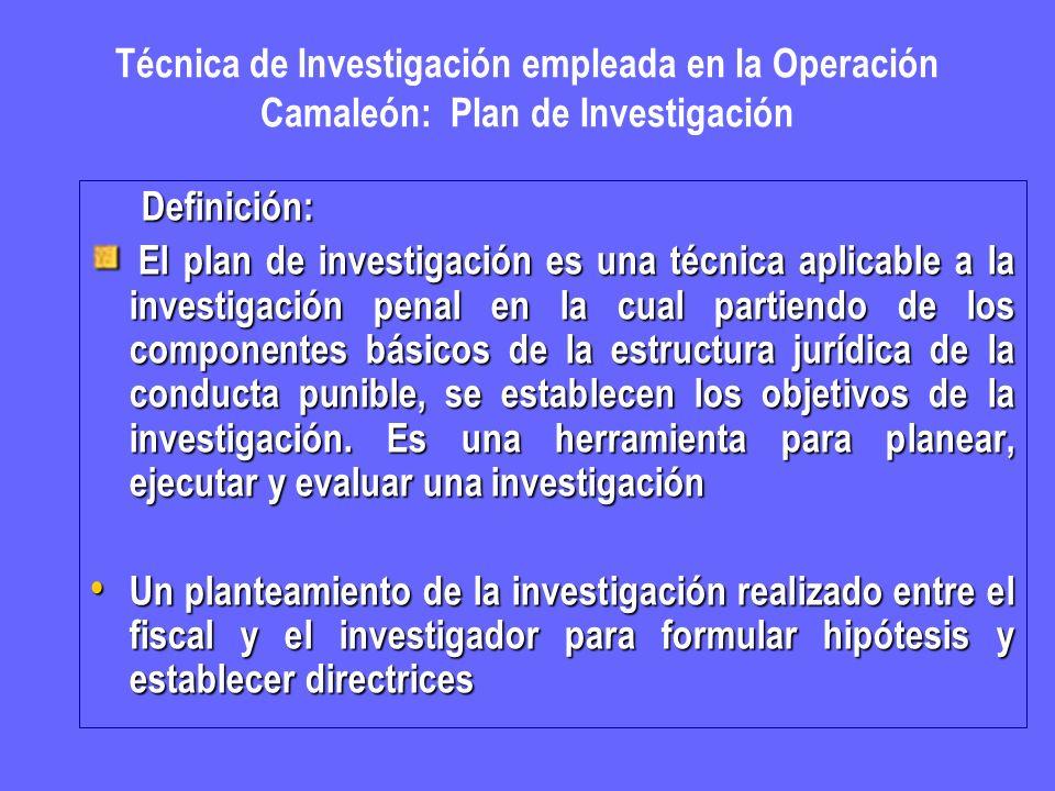 Técnica de Investigación empleada en la Operación Camaleón: Plan de Investigación Definición: Definición: El plan de investigación es una técnica apli