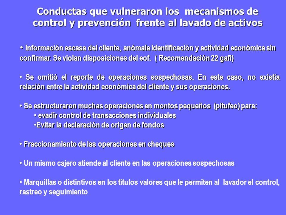 Información escasa del cliente, anómala Identificación y actividad económica sin confirmar. Se violan disposiciones del eof. ( Recomendación 22 gafi)