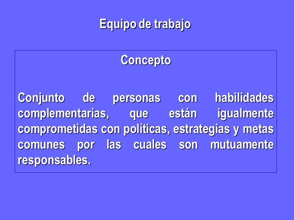 Concepto Conjunto de personas con habilidades complementarias, que están igualmente comprometidas con políticas, estrategias y metas comunes por las c