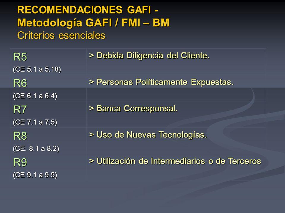 RECOMENDACIONES GAFI - Metodología GAFI / FMI – BM Criterios esenciales R5 (CE 5.1 a 5.18) > Debida Diligencia del Cliente. R6 (CE 6.1 a 6.4) > Person