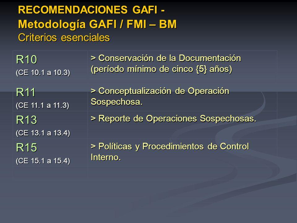 RECOMENDACIONES GAFI - Metodología GAFI / FMI – BM Criterios esenciales R10 (CE 10.1 a 10.3) > Conservación de la Documentación (período mínimo de cin