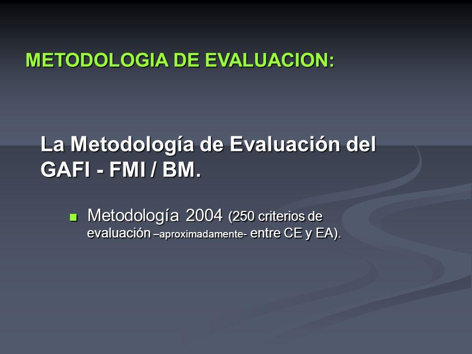 La Metodología de Evaluación del GAFI - FMI / BM. Metodología 2004 (250 criterios de evaluación –aproximadamente- entre CE y EA). Metodología 2004 (25