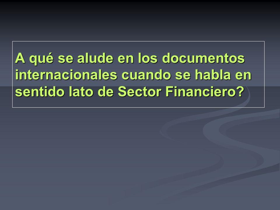 A qué se alude en los documentos internacionales cuando se habla en sentido lato de Sector Financiero?