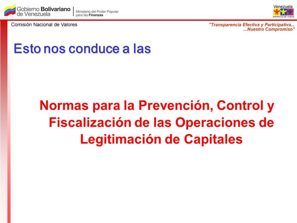 Esto nos conduce a las Normas para la Prevención, Control y Fiscalización de las Operaciones de Legitimación de Capitales