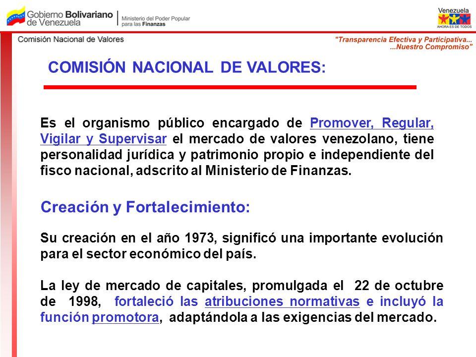 COMISIÓN NACIONAL DE VALORES: Es el organismo público encargado de Promover, Regular, Vigilar y Supervisar el mercado de valores venezolano, tiene per