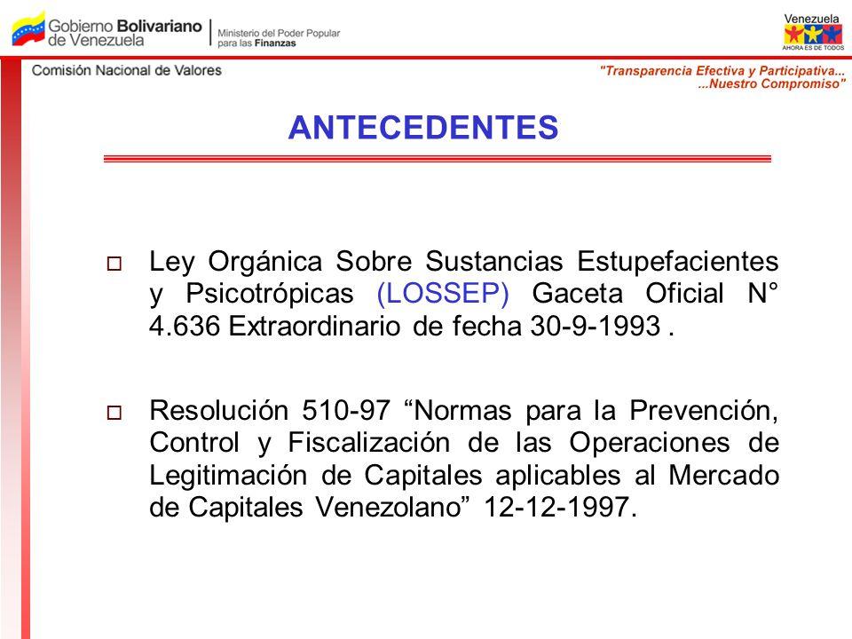Ley Orgánica Sobre Sustancias Estupefacientes y Psicotrópicas (LOSSEP) Gaceta Oficial N° 4.636 Extraordinario de fecha 30-9-1993. Resolución 510-97 No