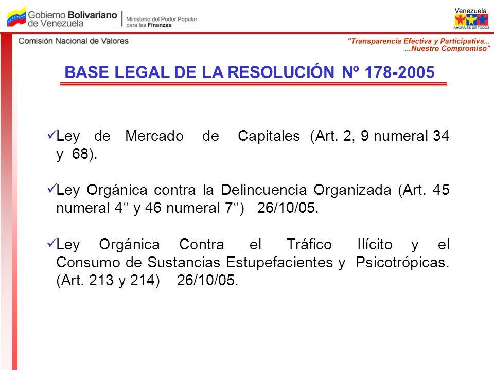 BASE LEGAL DE LA RESOLUCIÓN Nº 178-2005 Ley de Mercado de Capitales (Art. 2, 9 numeral 34 y 68). Ley Orgánica contra la Delincuencia Organizada (Art.