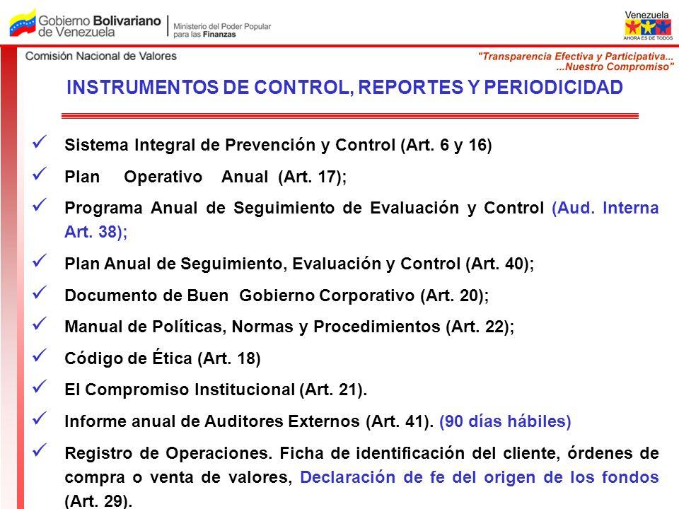 Sistema Integral de Prevención y Control (Art. 6 y 16) Plan Operativo Anual (Art. 17); Programa Anual de Seguimiento de Evaluación y Control (Aud. Int