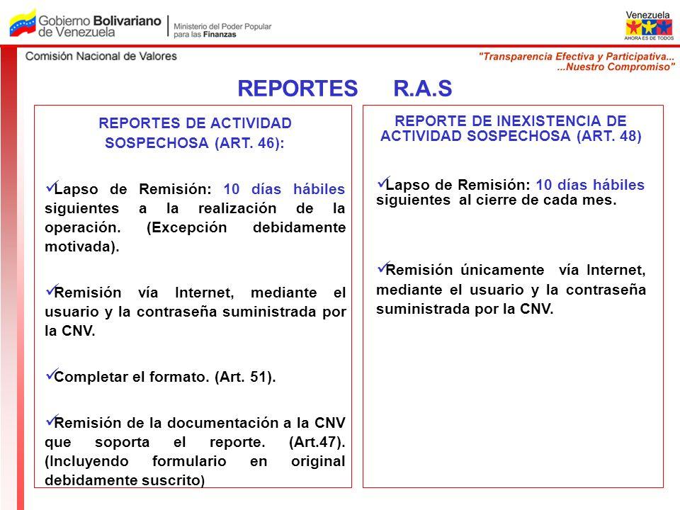 REPORTES DE ACTIVIDAD SOSPECHOSA (ART. 46): Lapso de Remisión: 10 días hábiles siguientes a la realización de la operación. (Excepción debidamente mot