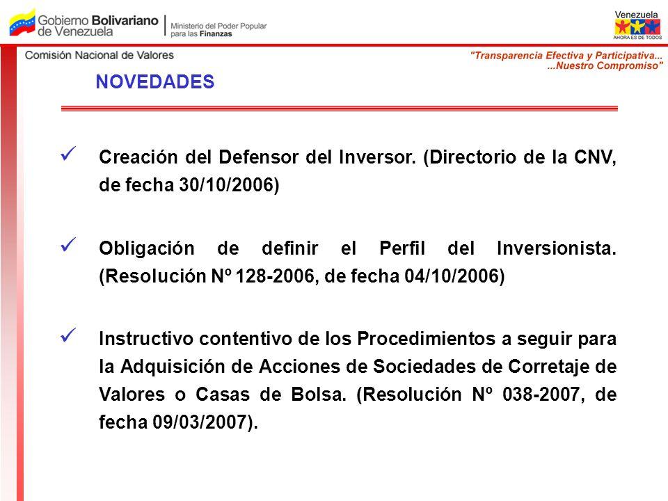 Creación del Defensor del Inversor. (Directorio de la CNV, de fecha 30/10/2006) Obligación de definir el Perfil del Inversionista. (Resolución Nº 128-