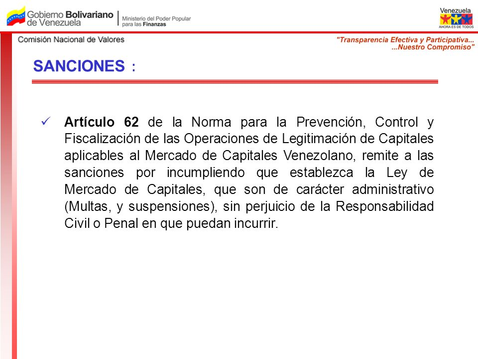 Artículo 62 de la Norma para la Prevención, Control y Fiscalización de las Operaciones de Legitimación de Capitales aplicables al Mercado de Capitales