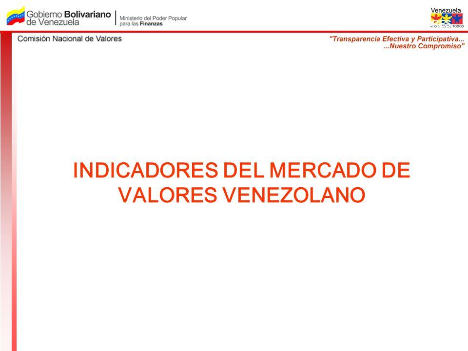 COMISION NACIONAL DE VALORES INDICADORES DEL MERCADO DE VALORES VENEZOLANO