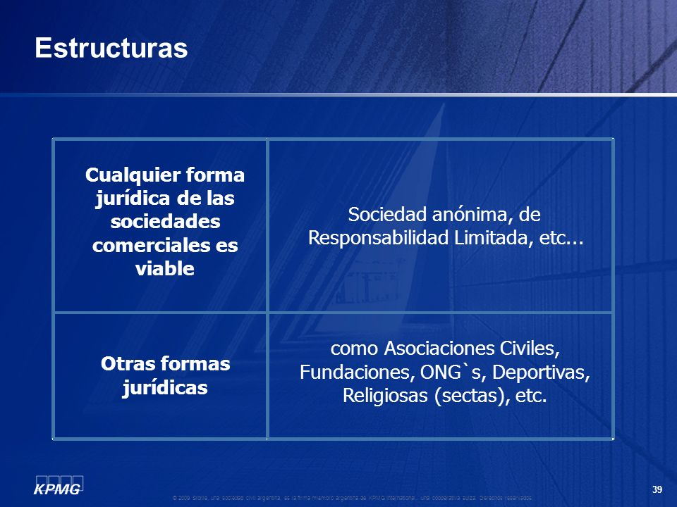 38 © 2009 Sibille, una sociedad civil argentina, es la firma miembro argentina de KPMG International, una cooperativa suiza. Derechos reservados. Legi