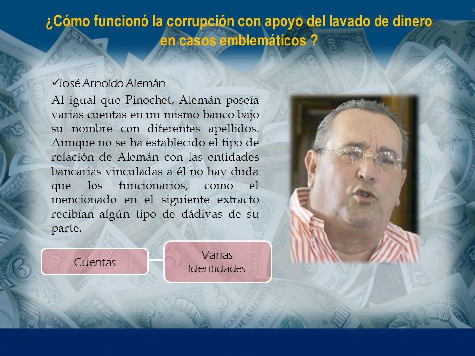 José Arnoldo Alemán Al igual que Pinochet, Alemán poseía varias cuentas en un mismo banco bajo su nombre con diferentes apellidos. Aunque no se ha est