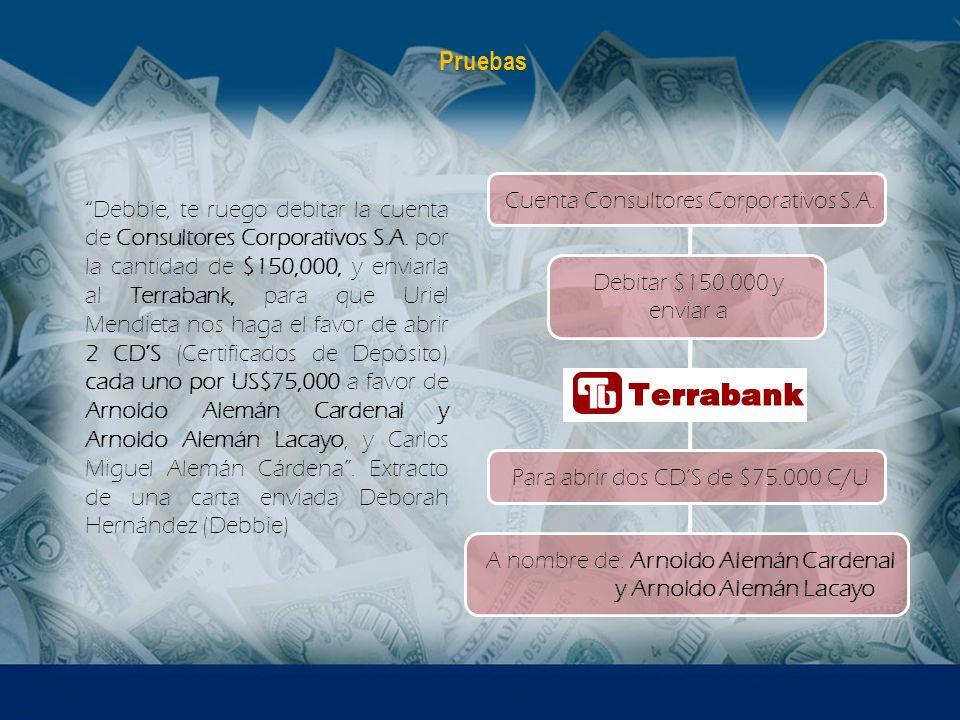 Debbie, te ruego debitar la cuenta de Consultores Corporativos S.A. por la cantidad de $150,000, y enviarla al Terrabank, para que Uriel Mendieta nos