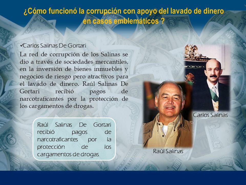 ¿Cómo funcionó la corrupción con apoyo del lavado de dinero en casos emblemáticos ? Carlos Salinas De Gortari La red de corrupción de los Salinas se d