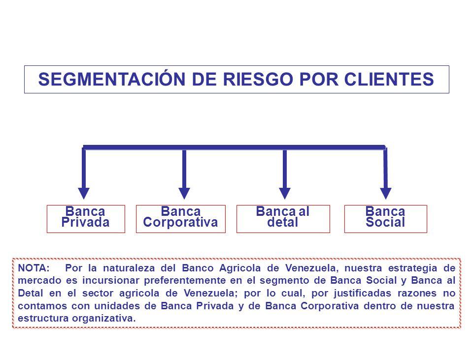 SEGMENTACIÓN DE RIESGO POR CLIENTES Banca Privada Banca Corporativa Banca al detal Banca Social NOTA: Por la naturaleza del Banco Agricola de Venezuel