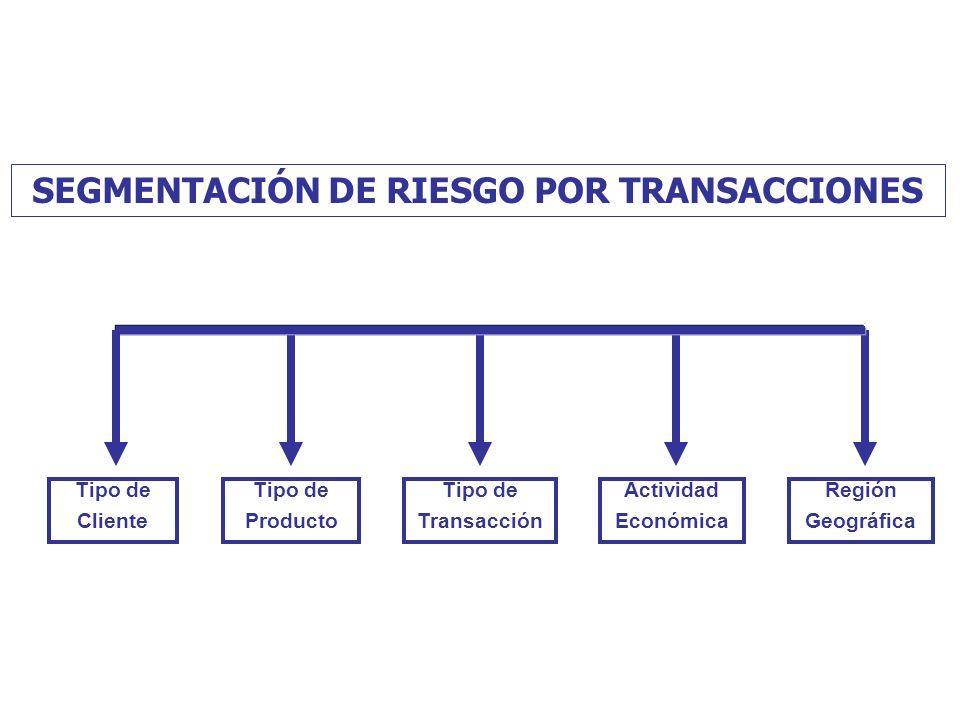 SEGMENTACIÓN DE RIESGO POR TRANSACCIONES Tipo de Producto Tipo de Transacción Actividad Económica Región Geográfica Tipo de Cliente