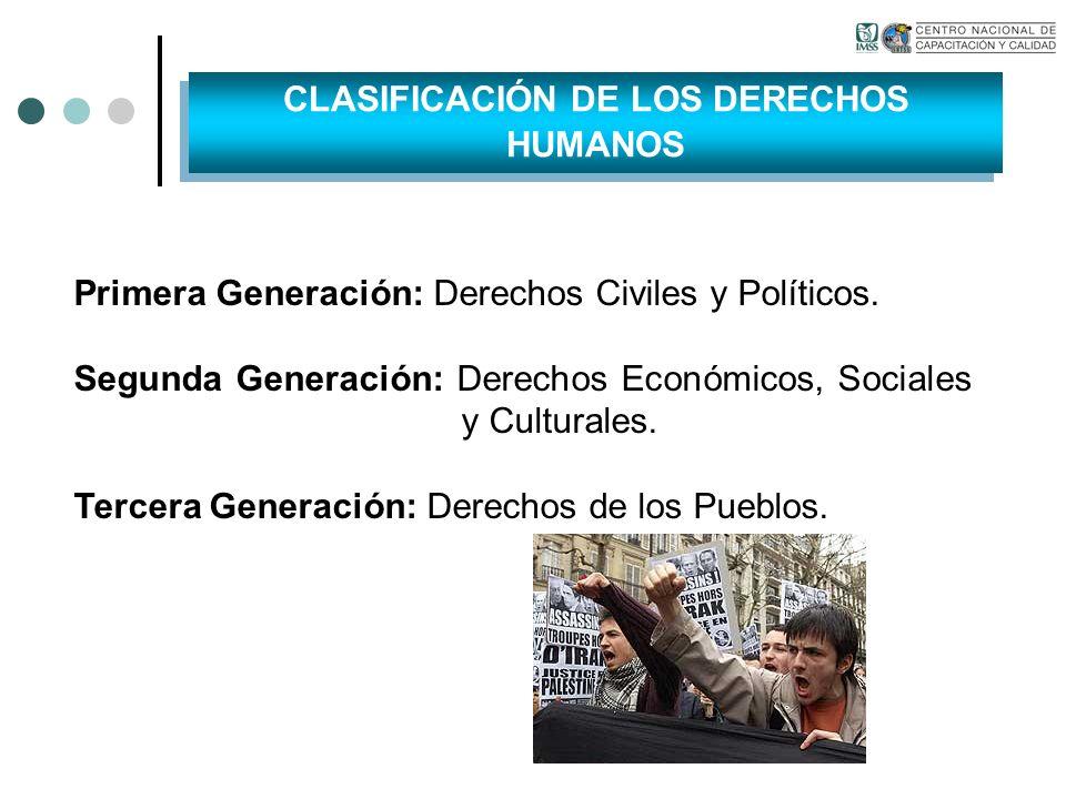 Primera Generación: Derechos Civiles y Políticos. Segunda Generación: Derechos Económicos, Sociales y Culturales. Tercera Generación: Derechos de los