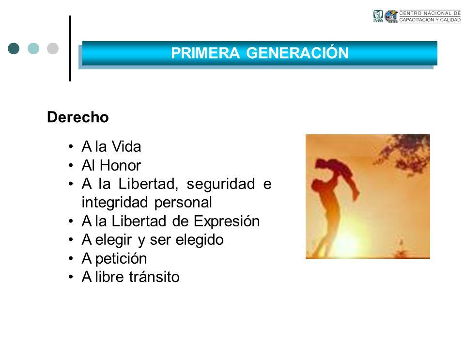 Derecho A la Vida Al Honor A la Libertad, seguridad e integridad personal A la Libertad de Expresión A elegir y ser elegido A petición A libre tránsit