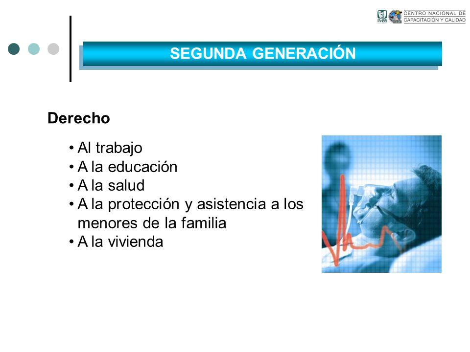 Derecho Al trabajo A la educación A la salud A la protección y asistencia a los menores de la familia A la vivienda SEGUNDA GENERACIÓN