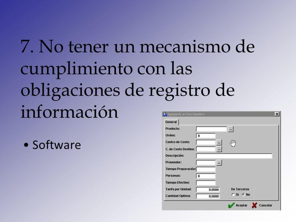 8. No tener un mecanismo que le permita identificar operaciones inusuales Software