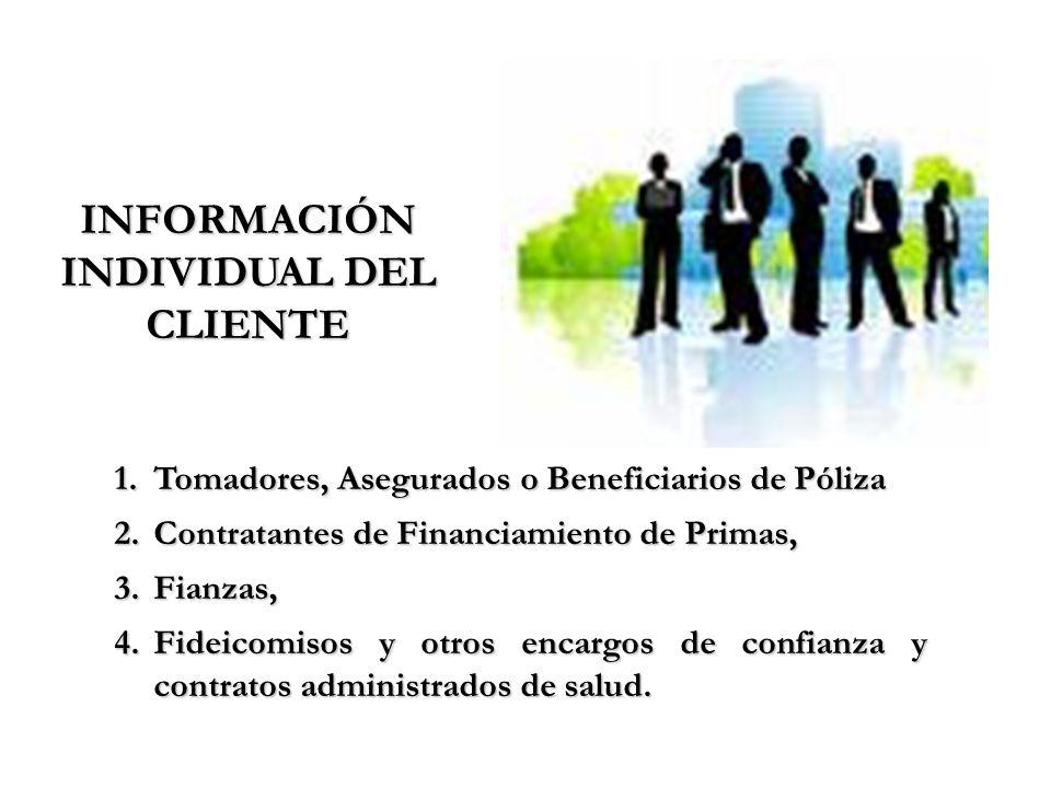 INFORMACIÓN INDIVIDUAL DEL CLIENTE 1.Tomadores, Asegurados o Beneficiarios de Póliza 2.Contratantes de Financiamiento de Primas, 3.Fianzas, 4.Fideicom